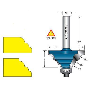 Cobolt 233-929 Flerradiefräs R=3, 4,5 och 6mm