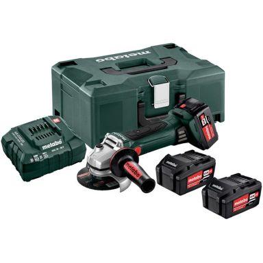 Metabo W 18 LTX 125 Quick Set Vinkelslip med väska, 4,0Ah batterier och laddare