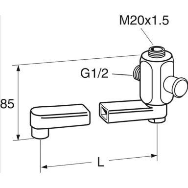 Gustavsberg GB41635270 Utloppspip svängbar, M20x1,5 x G15