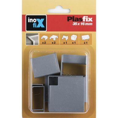 Plasfix 3630-7G Skarv- och hörnbitar till Plasfix, aluminiumfärgad, 35 x 16 m