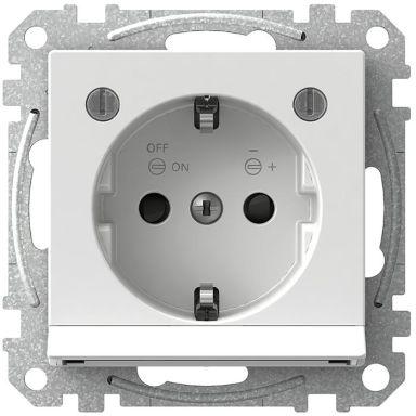 Schneider Electric Exxact WDE002333 Vägguttag med nattljus, jordat, 1-vägs