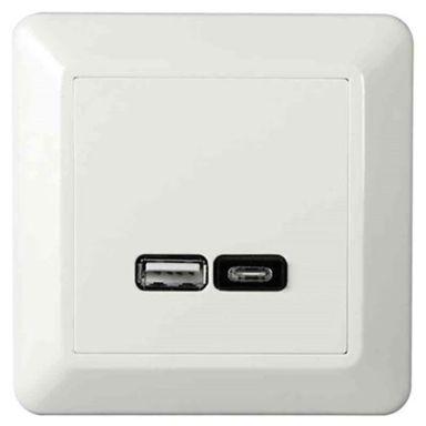 Elko EKO07079 Ladduttag USB/USB-C, vit