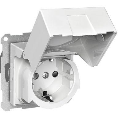 Schneider Electric Exxact WDE002324 Vägguttag med jordfelsbrytare, jordat, 1-vägs