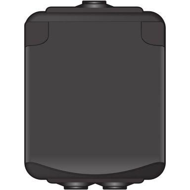Norwesco AquaBest 1860010 Vägguttag 1-vägs, kapslat, svart