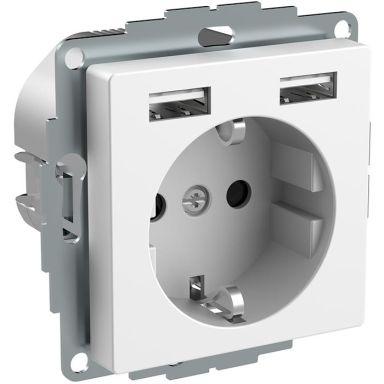Schneider Electric Exxact WDE002179 Vägguttag jordat, 2-vägs, med USB, vit