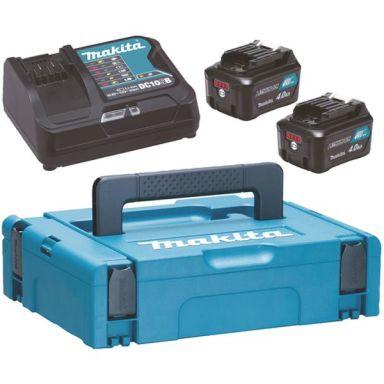 Makita Powerpack 197641-2 Laddpaket 2 st. 4,0 Ah batterier, laddare, väska