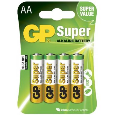 GP Batteries Super Alkaline 15A-2U4/LR6 Alkaliska batterier AA, 4-pack