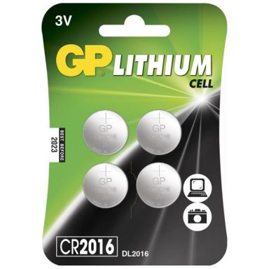 GP Batteries CR 2016-7U4 Knappcell litium, 3 V, 4-pack