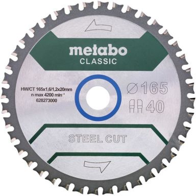 Metabo 628273000 Sågklinga 165x20 mm Z40 WZ 4
