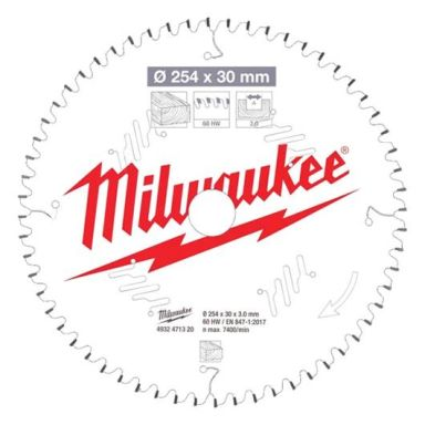 Milwaukee CSB MS W Sagklinge 254x3x30 mm, 60T