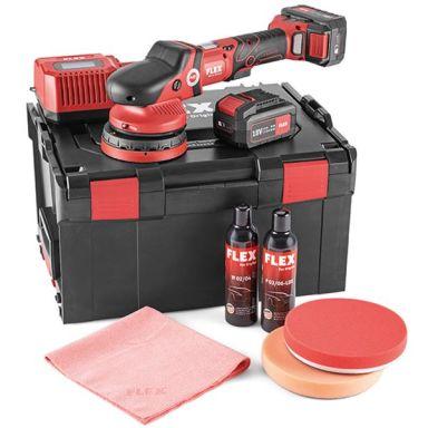 Flex XFE15 125 18.0-EC P-Set Polermaskin med batterier, laddare och tillbehör