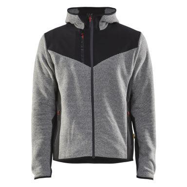 Blåkläder 594025369099XXL Jacka stickad, med softshell, gråmelerad/svart