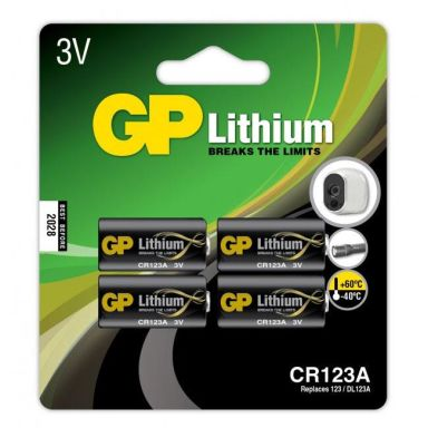 GP Batteries CR 123A-C1 Fotobatteri litium, 3V, 4-pack