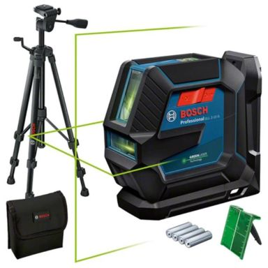 Bosch GLL 2-15/LB10 Linjelaser grön, med batterier och universalfäste