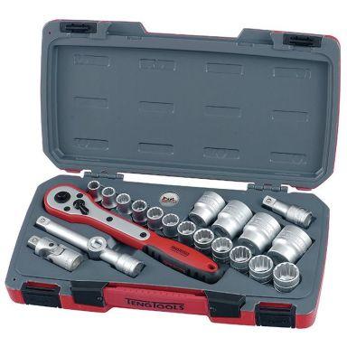 Teng Tools T1221 Hylsnyckelsats 12-kant, 21 delar