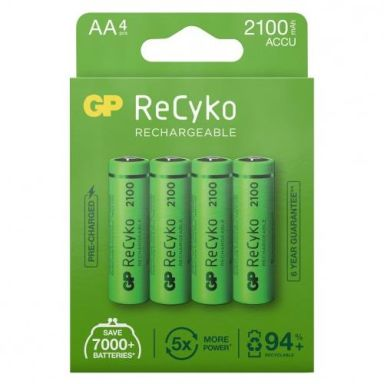 GP Batteries ReCyko 2100 Laddbara batterier AA, 4-pack