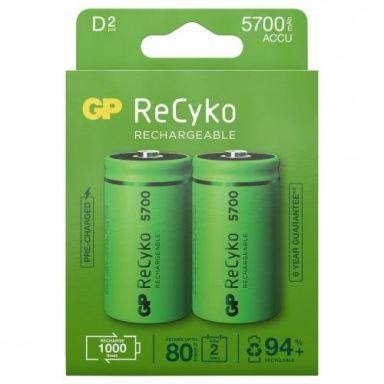 GP Batteries ReCyko 5700 Laddbara batterier D, 2-pack