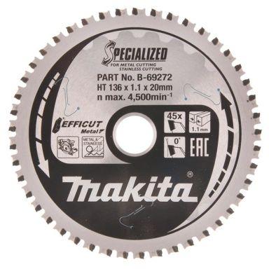 Makita B-69272 Pyörösahanterä 136 mm, ruostumattomalle metallille