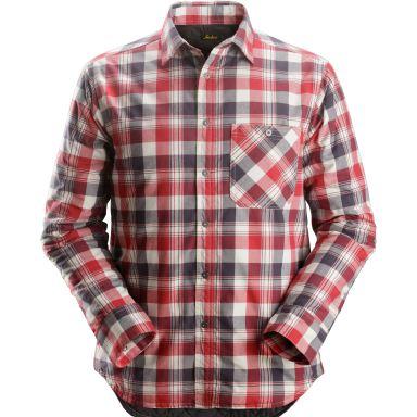 Snickers 8501 RuffWork Flanellskjorta fodrad, grå/röd