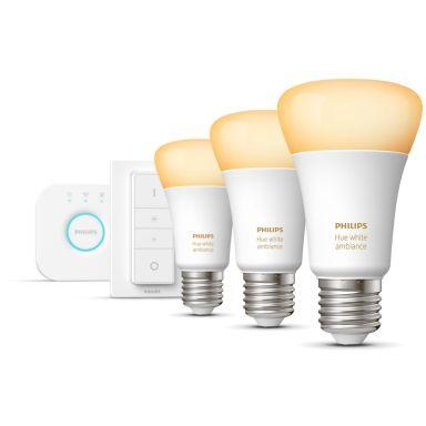 Philips Hue White Ambiance Startpaket för smart belysning, 3 x 8.5W