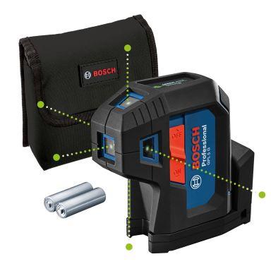 Bosch GPL 5 G Pistelaser vihreä, mukana akut ja laukku