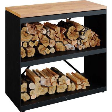 OFYR Wood Storage Dressoir Black Förvaringshylla svartlackerat stål, arbetsskiva i gummiträ