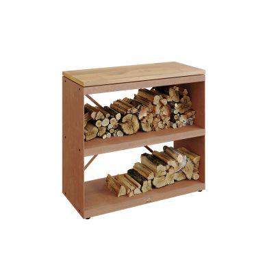 OFYR Wood Storage Dressoir Förvaringshylla cortenstål, toppskiva i gummiträ