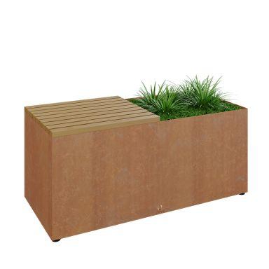 OFYR Herb Garden Bench Corten Trädgårdsbänk sittskiva utav trä