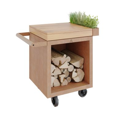 OFYR Mise en Place Table Corten PRO 65 TW Arbetsbord skärbräda i teak