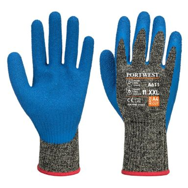 Portwest Aramid HR Cut Handske svart/blå, latex