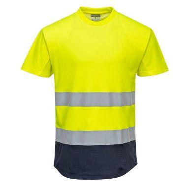 Portwest C395 T-skjorte Hi-Vis gul/marineblå