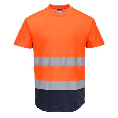 Portwest C395 T-skjorte Hi-Vis oransje/marineblå