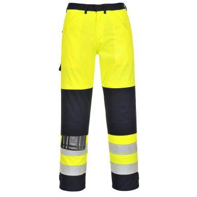 Portwest FR62 Byxa Hi-Vis gul/marinblå, flamskyddad