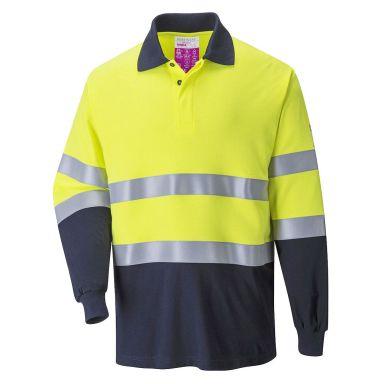 Portwest FR74 Pikéskjorte Hi-Vis gul/marineblå, flammehemmende