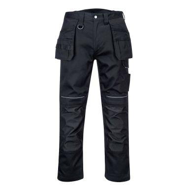 Portwest PW3 Bomullsbukse svart, med hylsterlommer