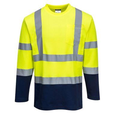 Portwest S280 T-shirt långärmad, Hi-Vis gul/marinblå