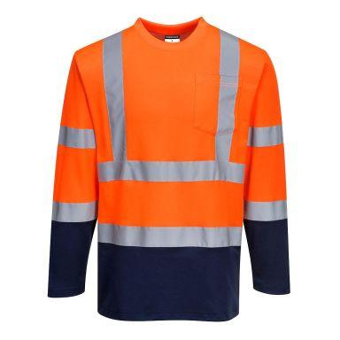 Portwest S280 T-skjorte langermet, Hi-Vis oransje/marineblå