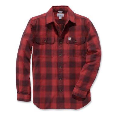 Carhartt Hubbard Flanellskjorta grå/röd, slim fit