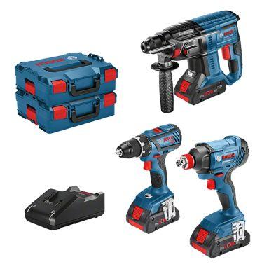 Bosch 18V 3 TOOL KIT Verktygspaket 3 st. verktyg, med batteri och laddare