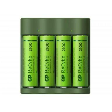 GP Batteries ReCyko Everyday B421 Batteriladdare med AA-batterier, 4 laddkanaler