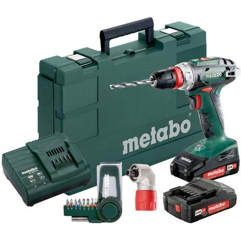 1110902 Metabo BS 18 QUICK SET Borrskruvdragare med 2,0Ah batterier, laddare och bits