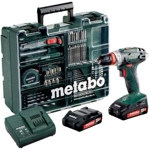 1110903 Metabo BS 18 QUICK SET Borrskruvdragare 2,0Ah batterier, laddare och tillbehör
