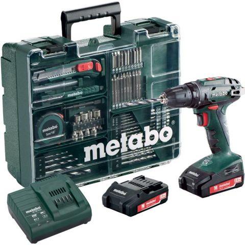 1110002 Metabo BS 18 SET Borrskruvdragare med 2,0Ah batterier och laddare