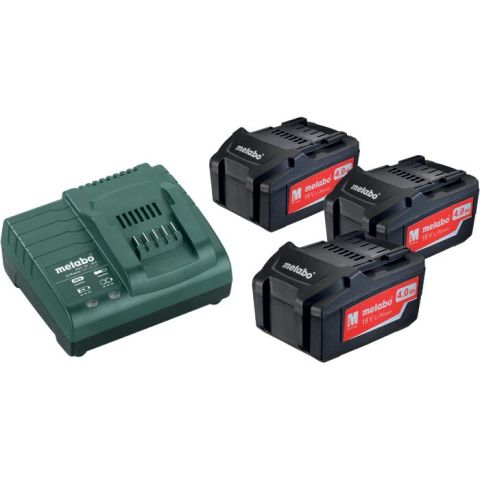 1110043 Metabo BAS-SET Laddpaket med 3st 4,0Ah batterier och laddare