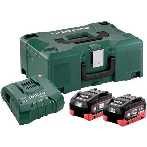 1110361 Metabo Bas-set Laddpaket 2st 8,0Ah batterier, laddare och väska
