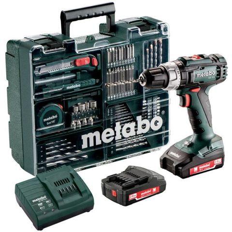 1110470 Metabo SB 18 L Set Slagborrmaskin med tillbehörssats, 2,0Ah batterier och laddare
