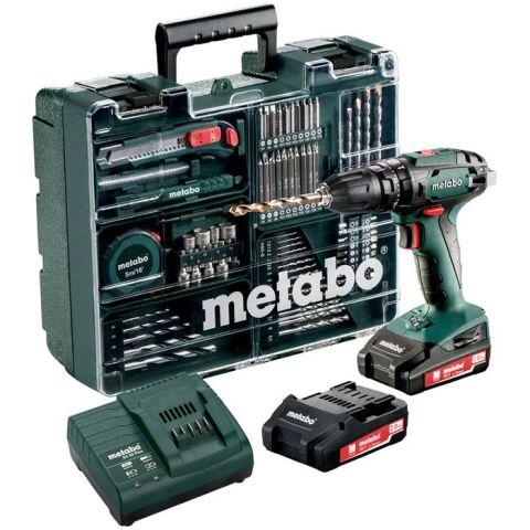 1110465 Metabo SB 18 Set Slagborrmaskin med tillbehörssats, 2,0Ah batterier och laddare