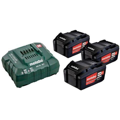 1110838 Metabo Bas-set Laddpaket med 3 st 5,2Ah batterier och laddare