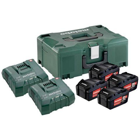 1110861 Metabo Bas-set Laddpaket 4st 5,2Ah batterier, 2st laddare & väska