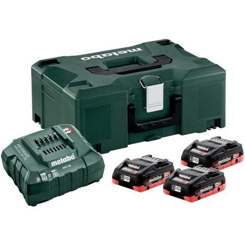 1110932 Metabo Bas-set Laddpaket 3st 4,0Ah batterier, laddare och väska